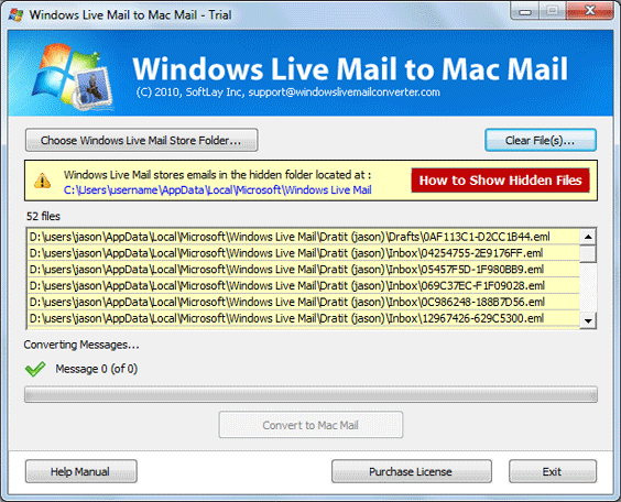 Windows Live Mail to Mac Mail Screenshot 1