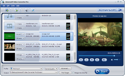 Aimersoft Video Converter Pro Screenshot 1