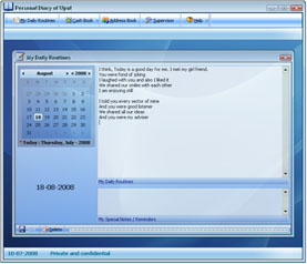 Personal Diary Software Screenshot