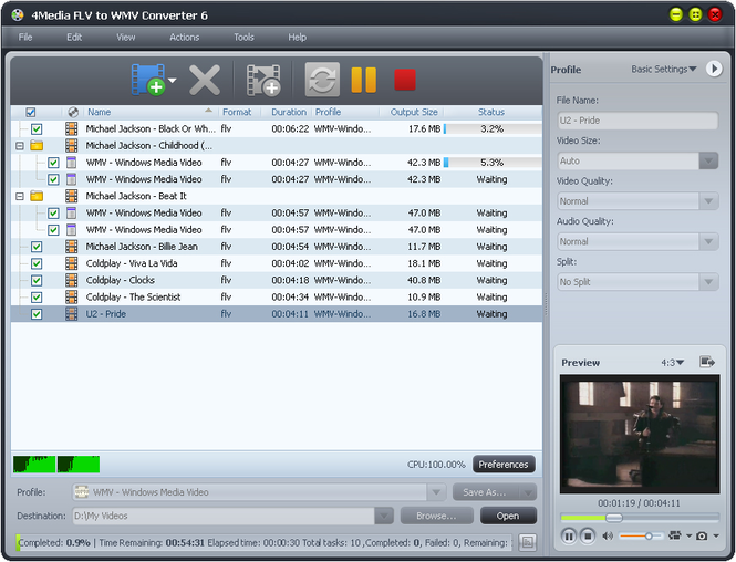4Media FLV to WMV Converter 6 Screenshot