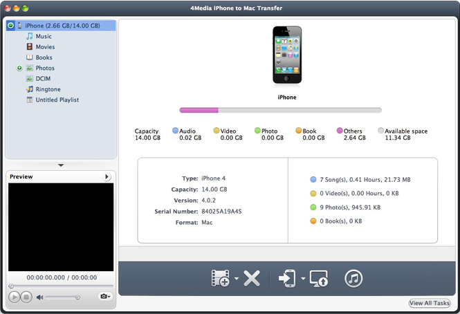 4Media iPhone to Mac Transfer Screenshot