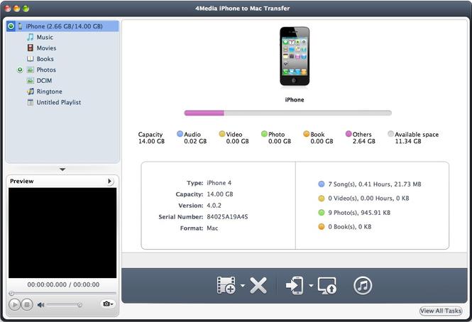 4Media iPhone to Mac Transfer Screenshot 1