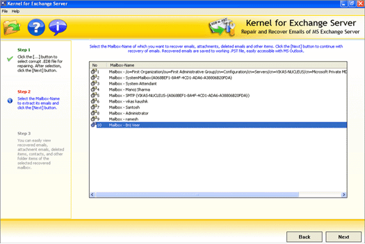 Exchange Server Recovery Tool Screenshot