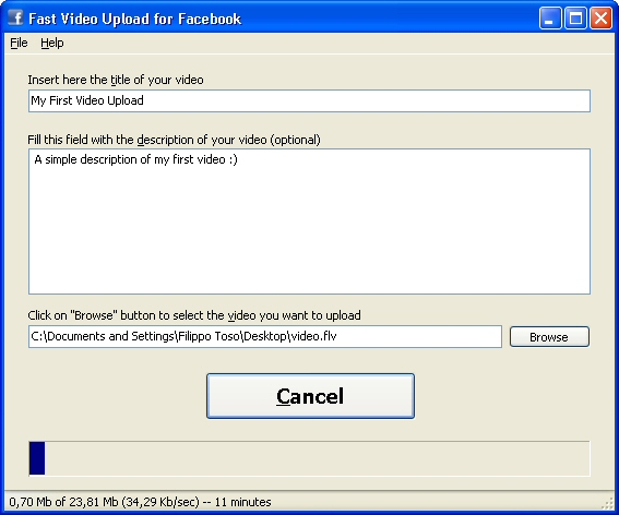 Fast Video Upload for Facebook Screenshot