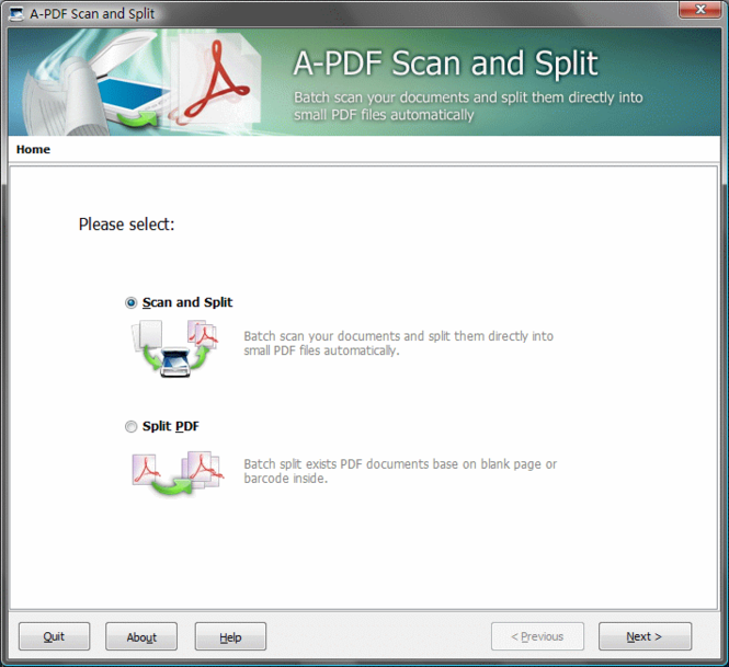 A-PDF Scan and Split Screenshot
