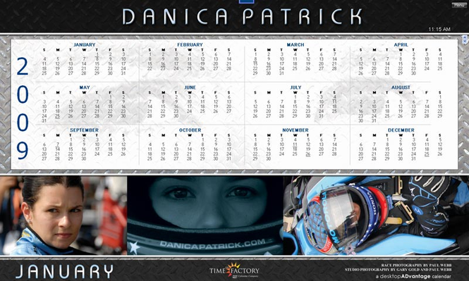 Danica Patrick 2009 Calendar for Macintosh Screenshot