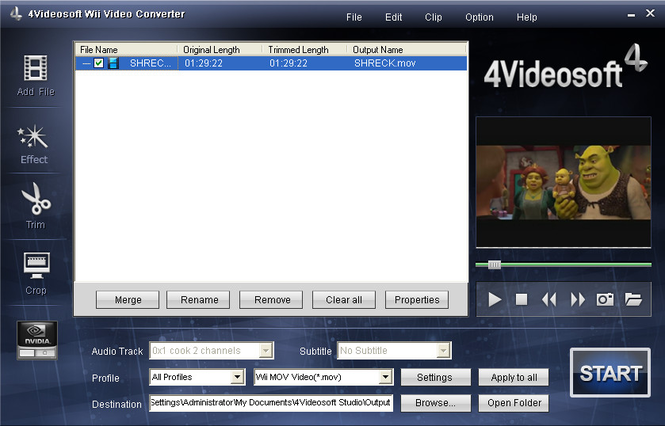 4Videosoft Wii Video Converter Screenshot