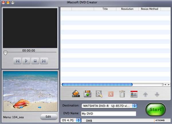 iMacsoft DVD Creator for Mac Screenshot