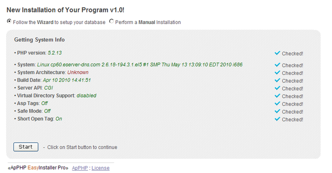 PHP Easy Installer - Installation Wizard Script Screenshot 1