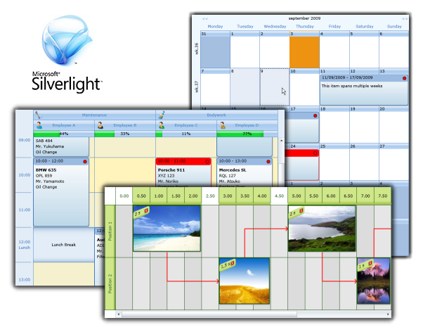 TMS Silverlight Planner Screenshot