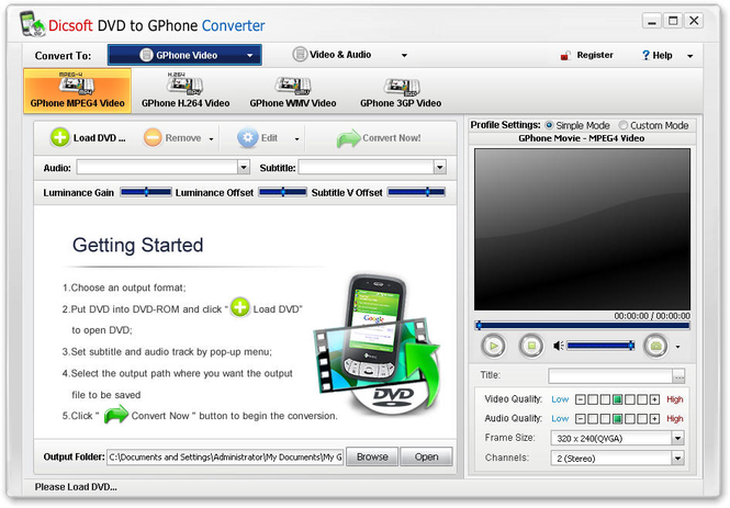 Dicsoft DVD to GPhone Converter Screenshot