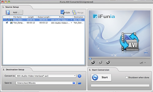 iFunia AVI Converter for Mac Screenshot 1