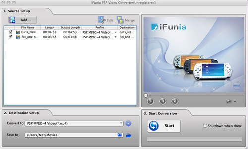 iFunia PSP Video Converter for Mac Screenshot