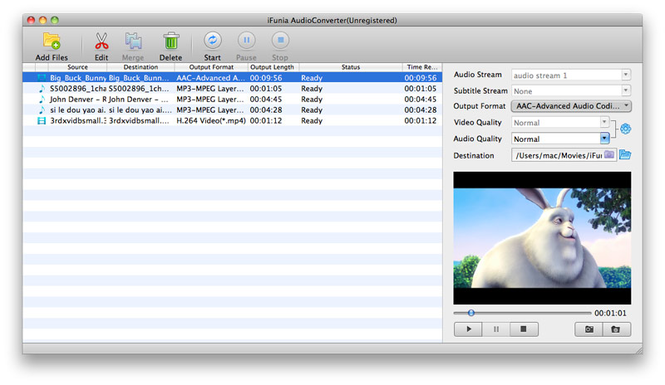 iFunia Video to Audio Converter for Mac Screenshot