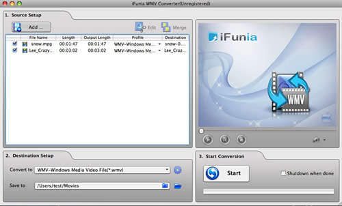 iFunia WMV Converter for Mac Screenshot