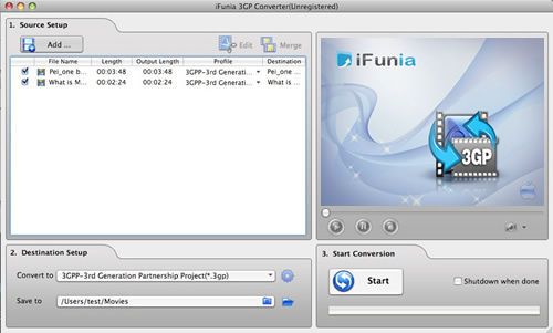 iFunia 3GP Converter for Mac Screenshot 1