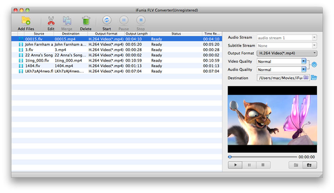 iFunia FLV Converter for Mac Screenshot