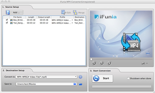 iFunia MP4 Converter for Mac Screenshot