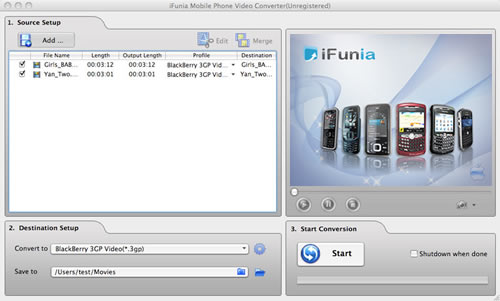 iFunia Mobile Phone Video Converter for Mac Screenshot 1