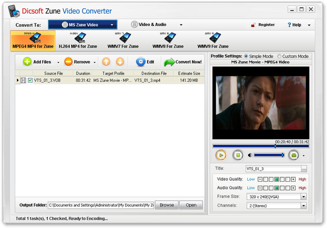 Dicsoft Zune Video Converter Screenshot 1