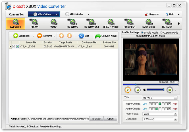 Dicsoft XBox Video Converter Screenshot 1