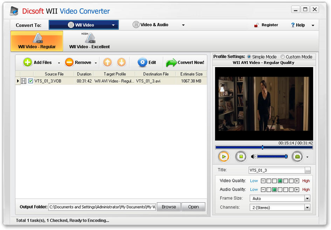 Dicsoft Wii Video Converter Screenshot 1