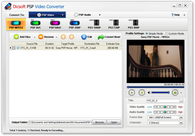 Dicsoft PSP Video Converter Screenshot 2