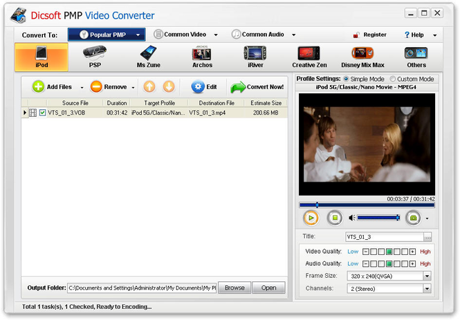 Dicsoft PMP Video Converter Screenshot