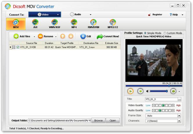 Dicsoft MOV Converter Screenshot 1