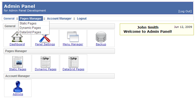 PHP AdminPanel - Control Panel Script Screenshot 1
