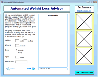 Automated Weight Loss Advisor Screenshot