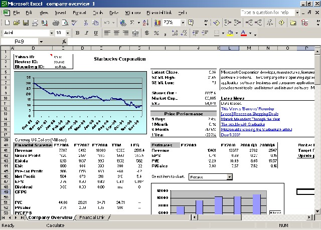 Financial Link for Excel Screenshot