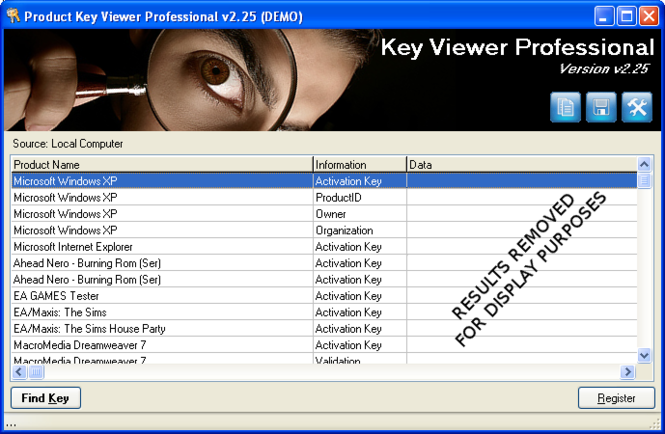 Product Key Viewer Technician Screenshot