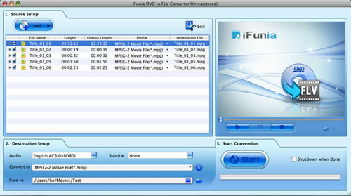 iFunia DVD to FLV Converter for Mac Screenshot