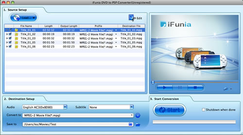 iFunia DVD to PSP Converter for Mac Screenshot