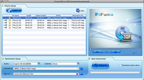 iFunia DVD to 3GP Converter for Mac Screenshot 1
