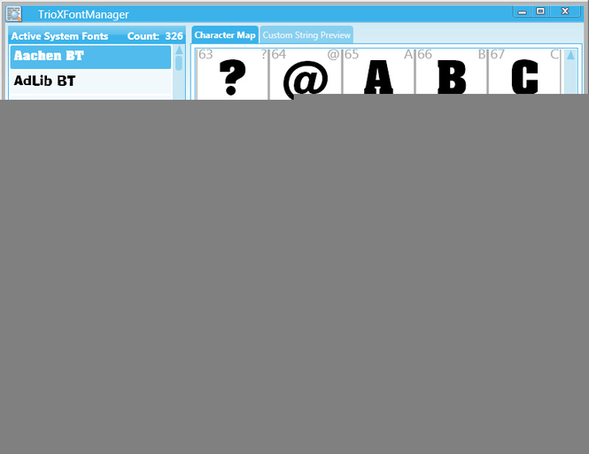 TrioXFontManager Screenshot 1
