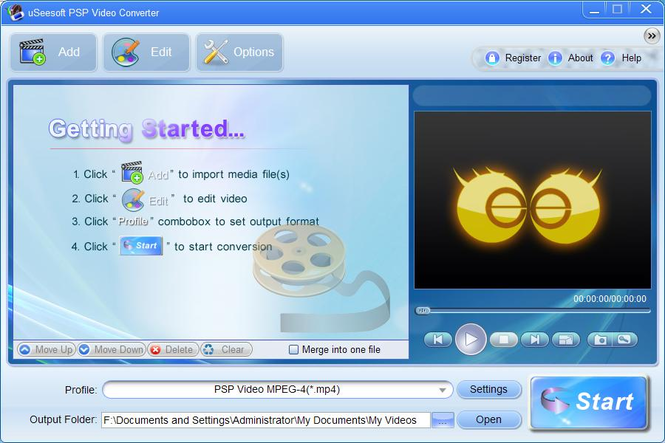 uSeesoft PSP Video Converter Screenshot 1