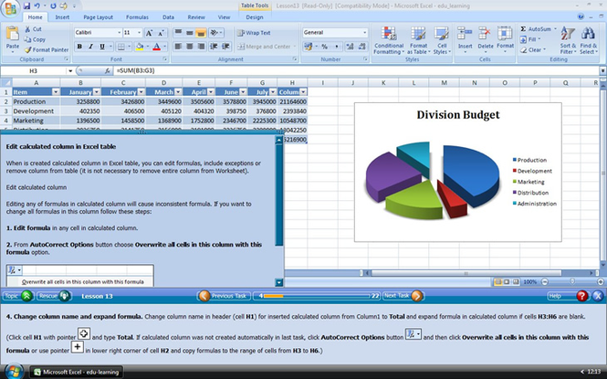 Edu-learning for Word, Excel and PowerPoint 2007 Screenshot 1