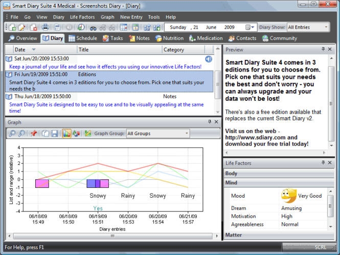 Smart Diary Software Screenshot
