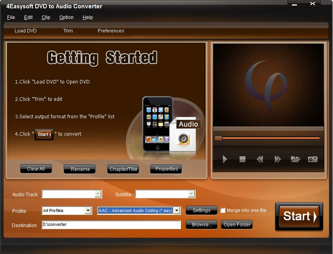 4Easysoft DVD to Audio Converter Screenshot