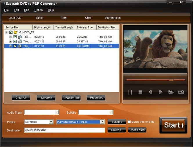 4Easysoft DVD to PSP Converter Screenshot