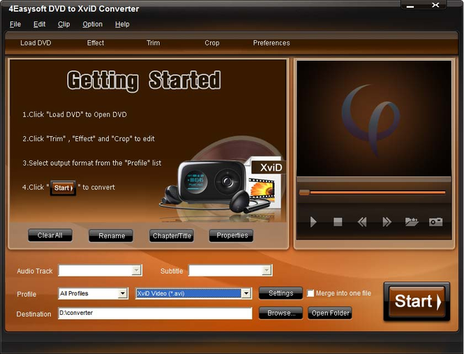 4Easysoft DVD to XviD Converter Screenshot