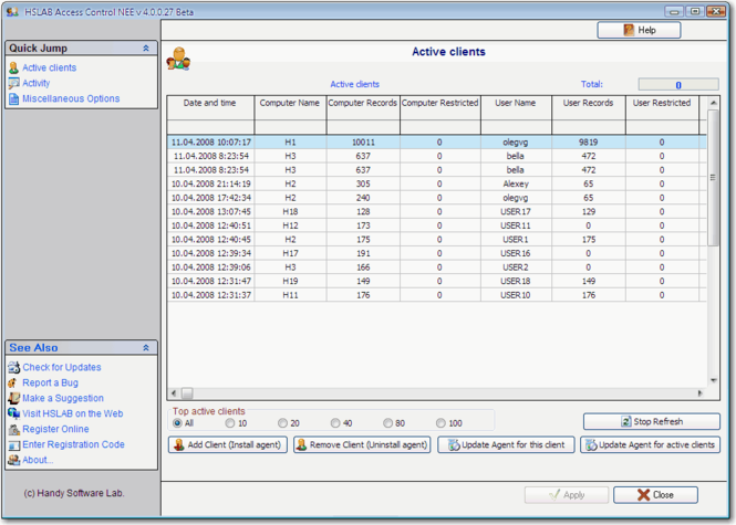 HSLAB Access Control NESB Screenshot
