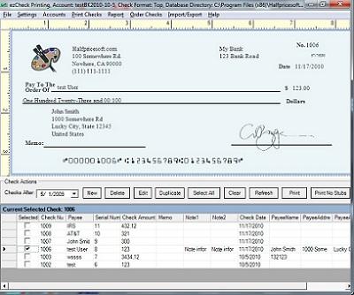 ezCheckPrinting - Check Write & Print Screenshot