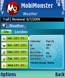 MobiMonster Weather Forecast Screenshot