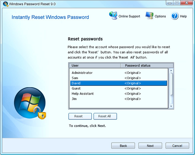 Advanced Windows Password Reset Screenshot