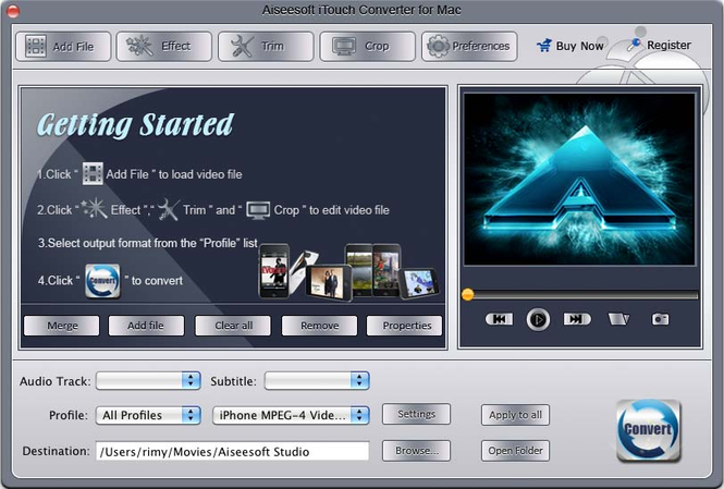 Aiseesoft iTouch Converter for Mac Screenshot