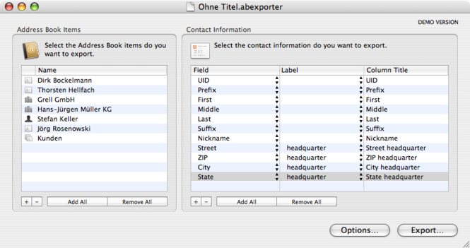 Export Address Book Screenshot