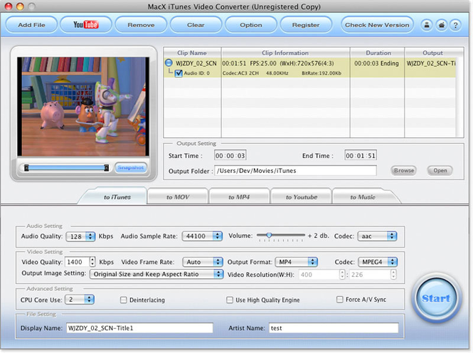 MacX iTunes Video Converter Screenshot